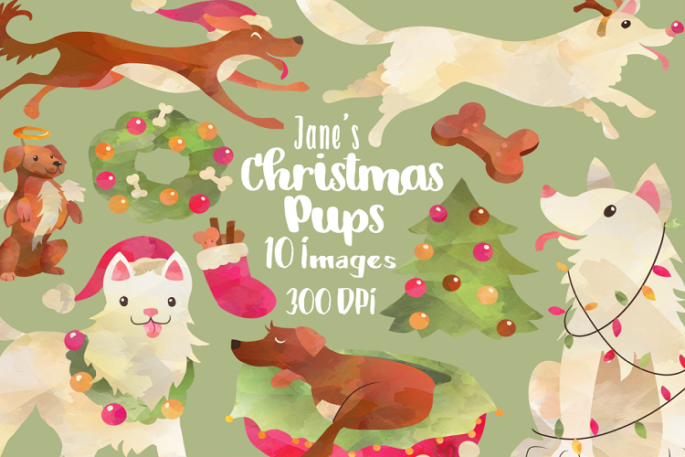 Watercolor christmas . Dogs clipart tree