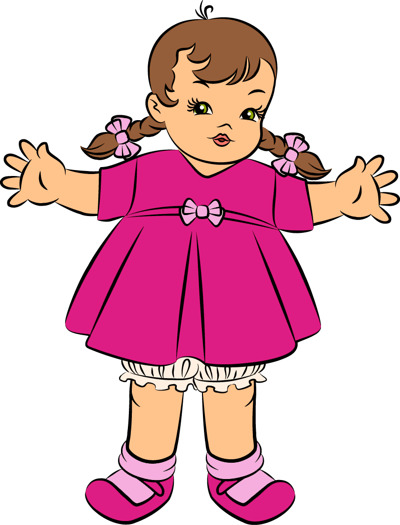 Doll clipart. Pink