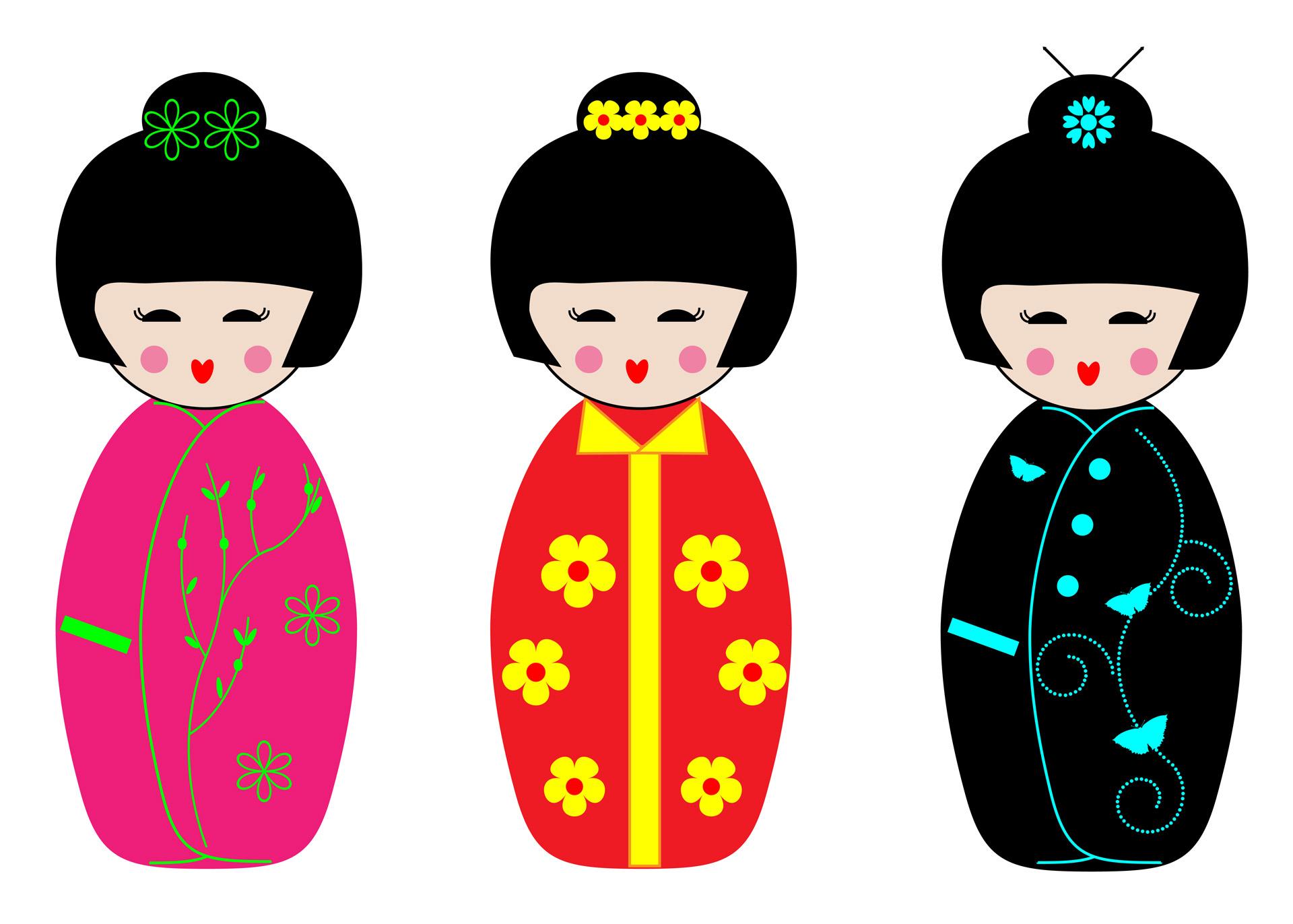 Kokeshi free stock photo. Dolls clipart