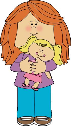 Little girl holding a. Dolls clipart child