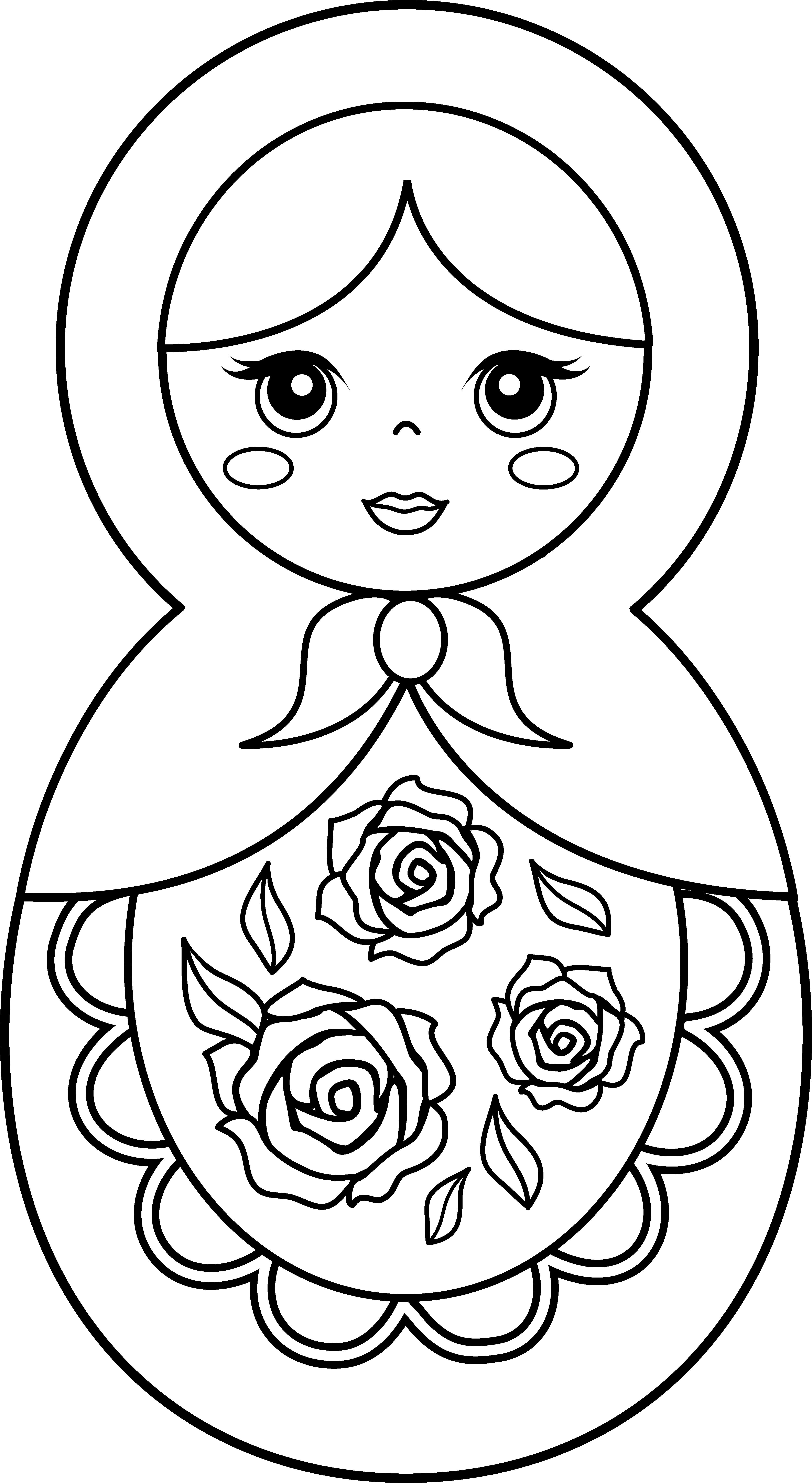Doll clipart clip art baby. Matryoshka coloring page free