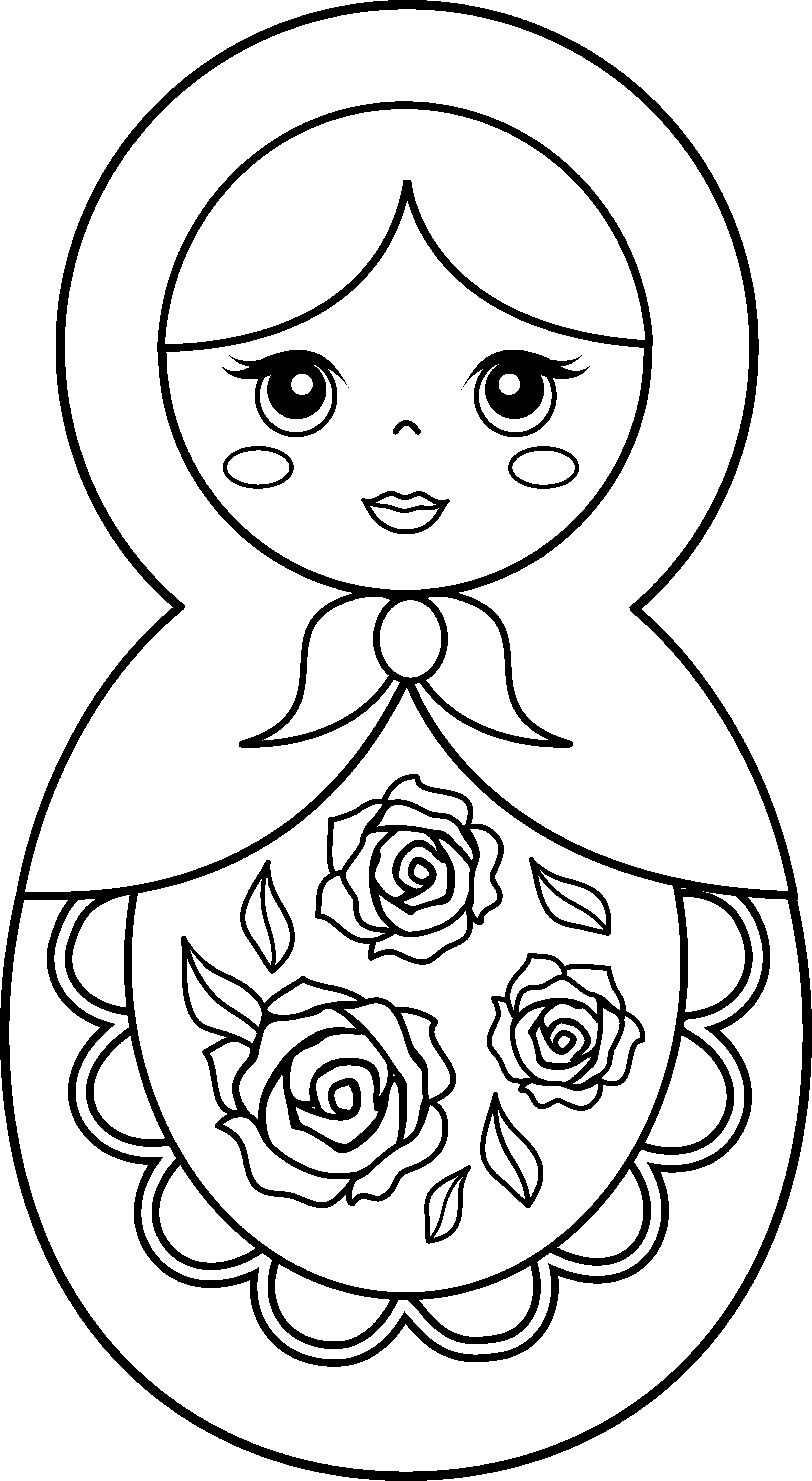 Nest clipart colouring page. Russian nesting dolls coloring