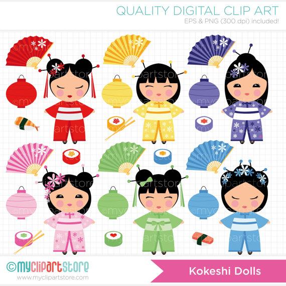Kokeshi lanterns sushi chopsticks. Dolls clipart doll japanese