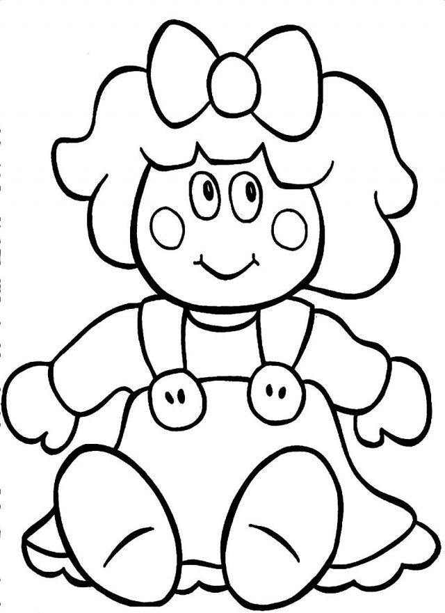 Black and white free. Doll clipart doll outline
