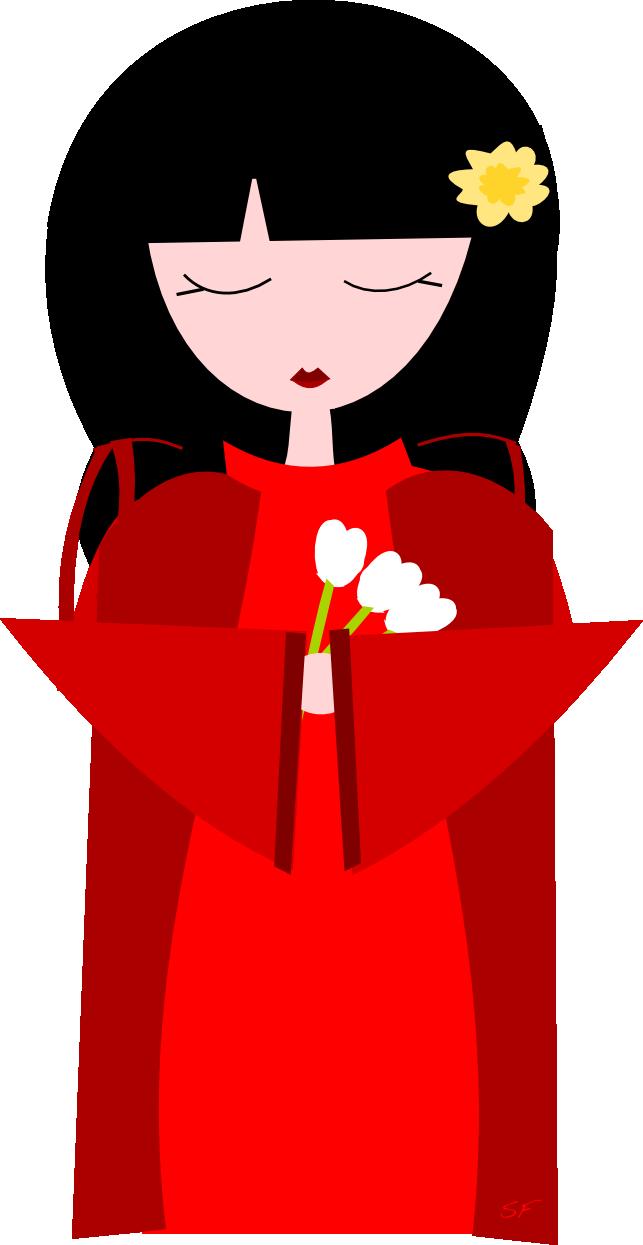 Doll clipart hinamatsuri. Cute kokeshi with tulips