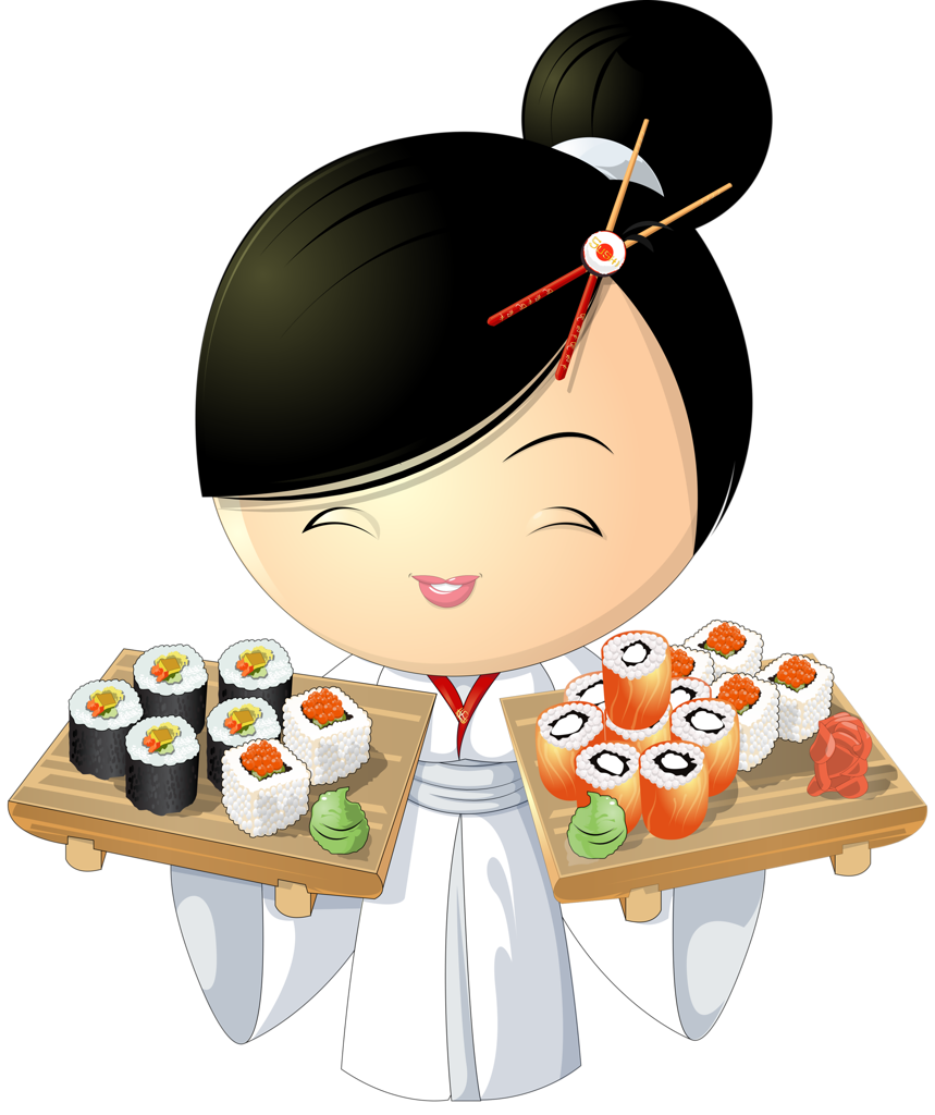 Girl png pinterest asian. Japanese clipart sushi chef