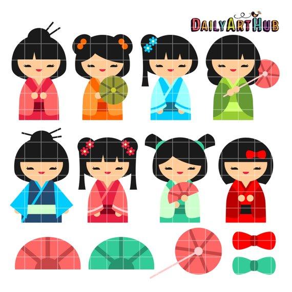 Dolls clipart doll japanese. Kokeshi clip art wooden