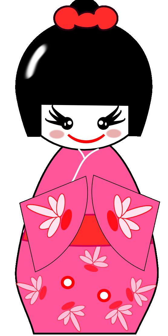Japanese clipart kokeshi doll.