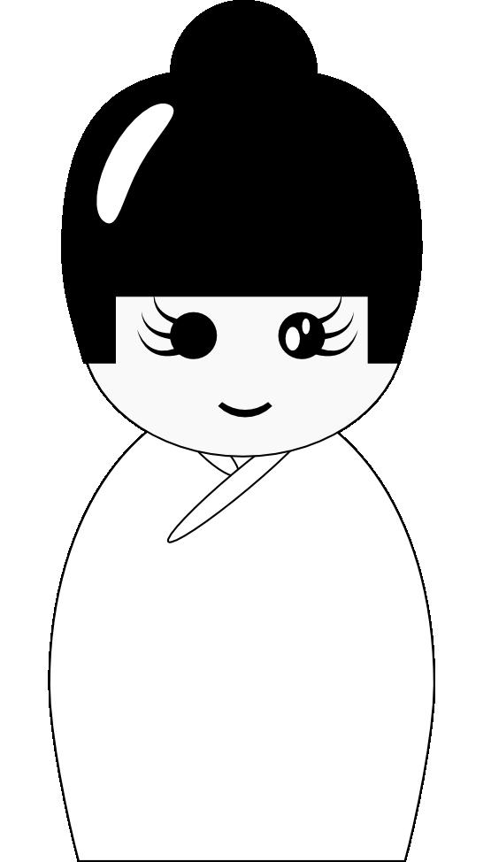 Kokeshi doll . Dolls clipart black and white