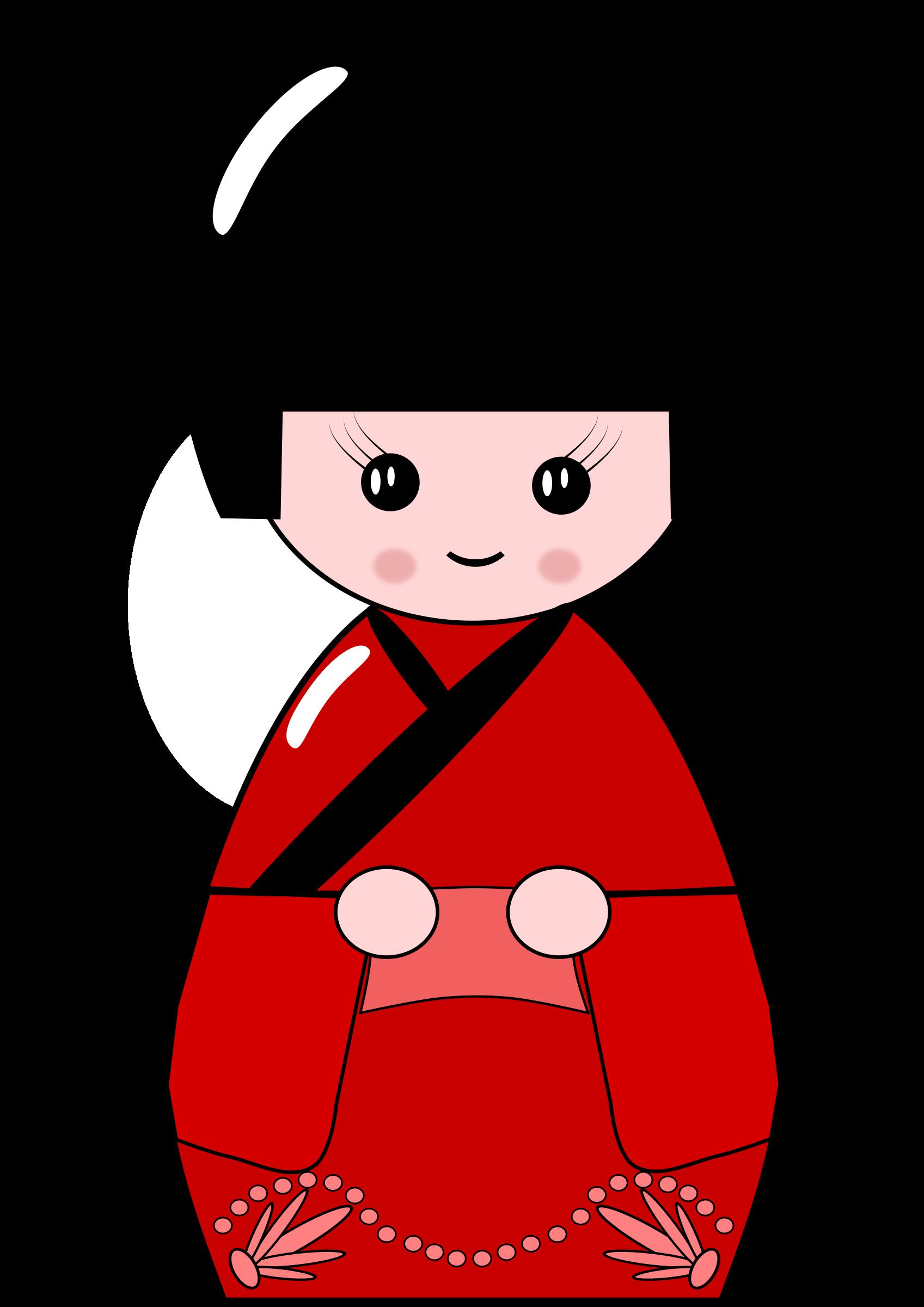 Kokeshi doll big image. Japanese clipart emperor japan
