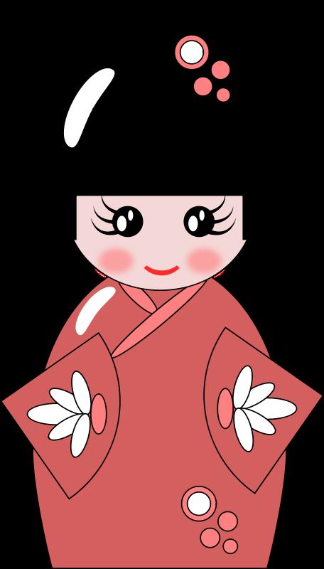 Doll group free kokeshi. Japanese clipart korean