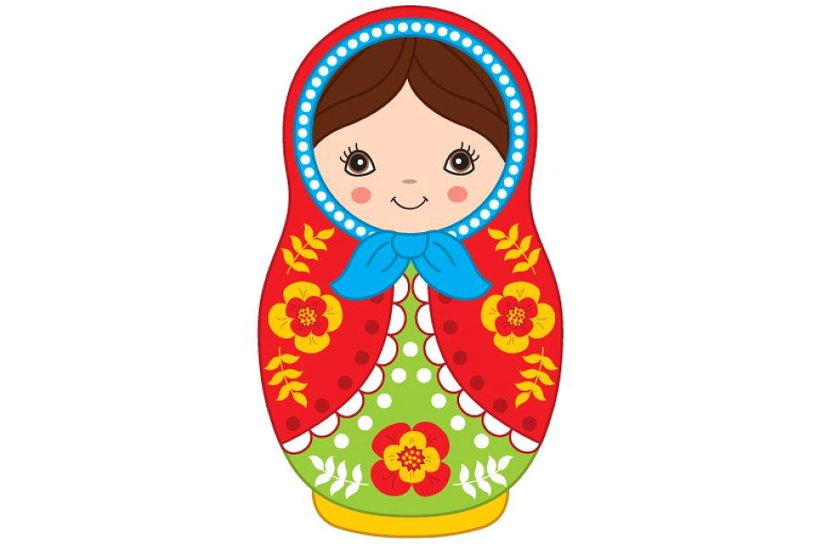 Matryoshka russian doll . Dolls clipart vector