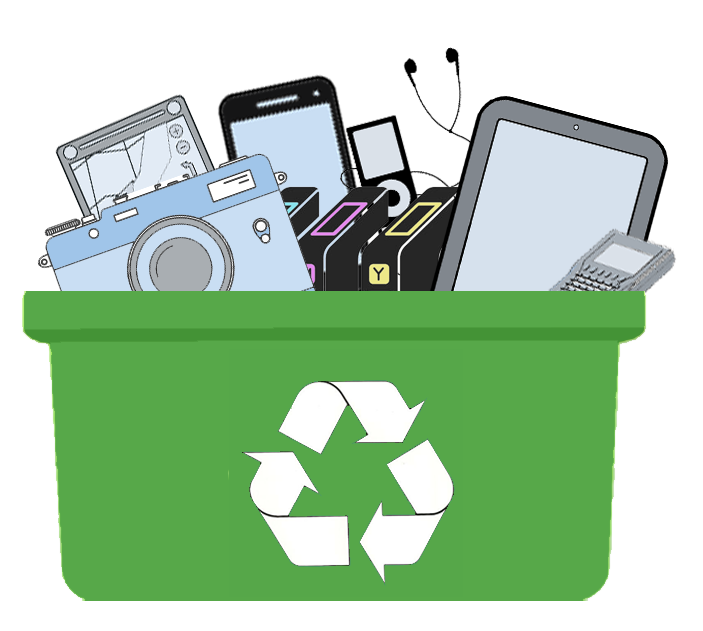 Recycle small and raise. Electronics clipart e waste