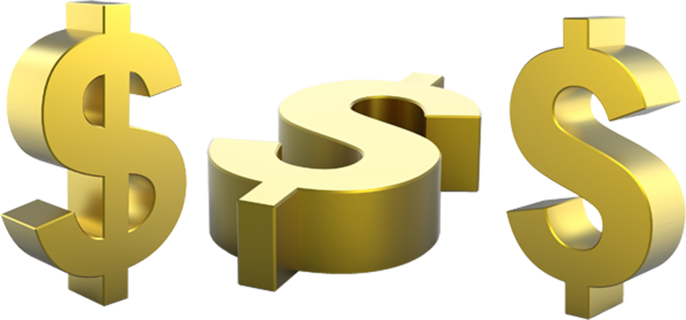 Dollars clipart psd. Gold dollar sign official