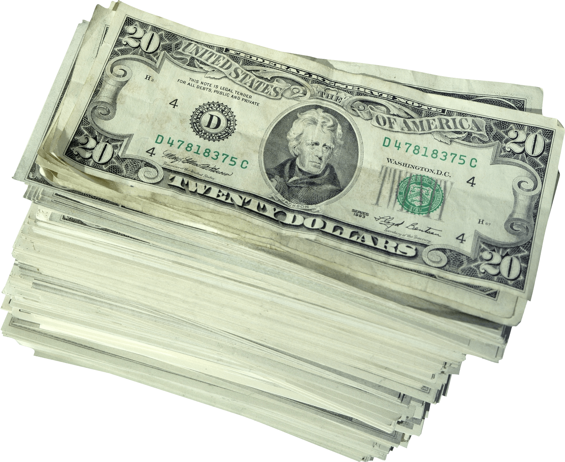 Dollars pile transparent stickpng. Wad of money png