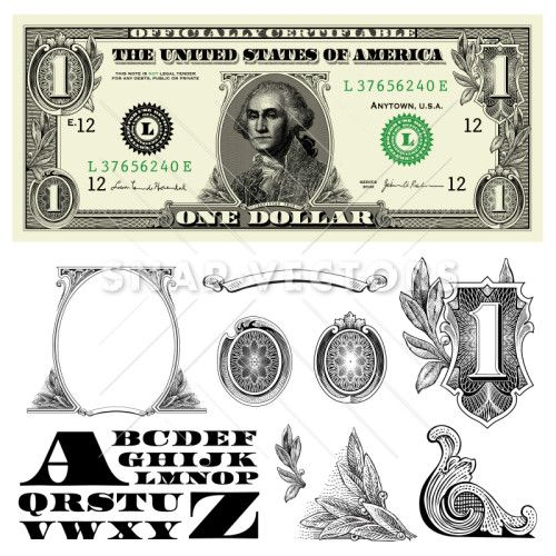 Money and bill elements. Dollar clipart vector
