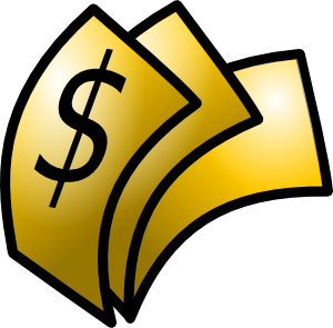 Dollars clipart. Gold theme money clip