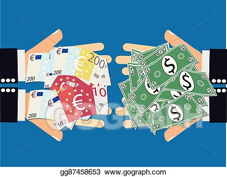 Vector illustration dollar currency. Dollars clipart euro