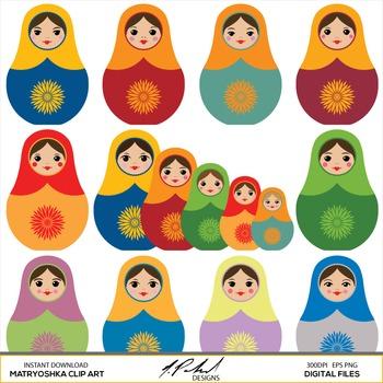 Matryoshka digital clip art. Dolls clipart