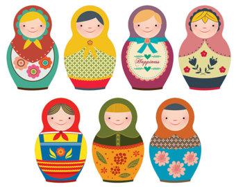 Matryoshka clip art etsy. Dolls clipart