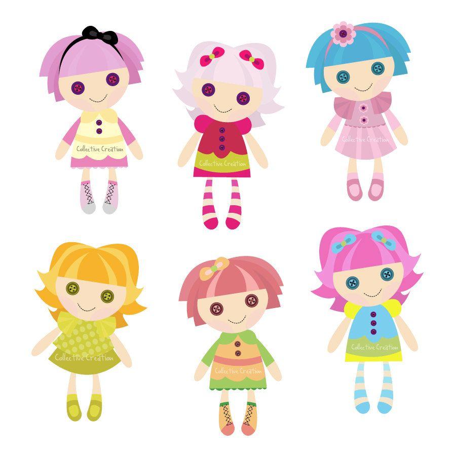 Dolls clipart. Rag doll digital clip