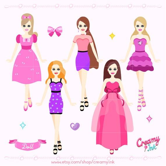 Doll digital clip art. Dolls clipart clothes barbie
