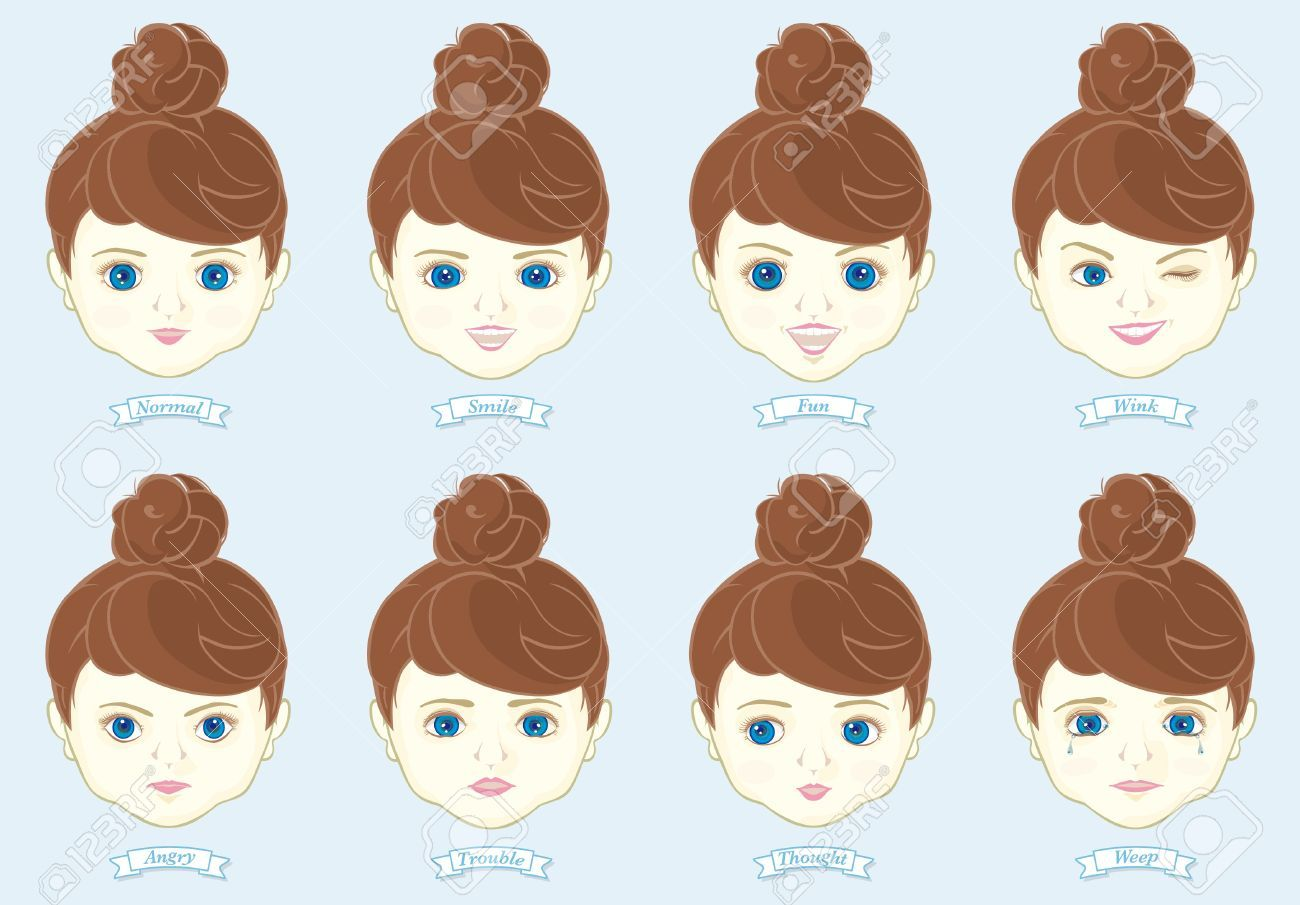 Faces clipart doll face. Stock vector dolls eyes
