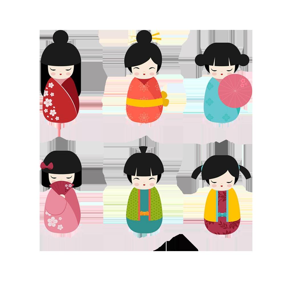 Japanese dolls kokeshi clip. Japan clipart hinamatsuri