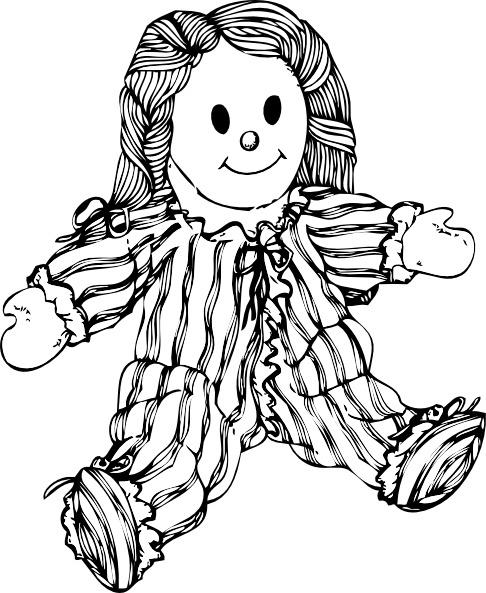 Stuffed doll clip free. Dolls clipart line art