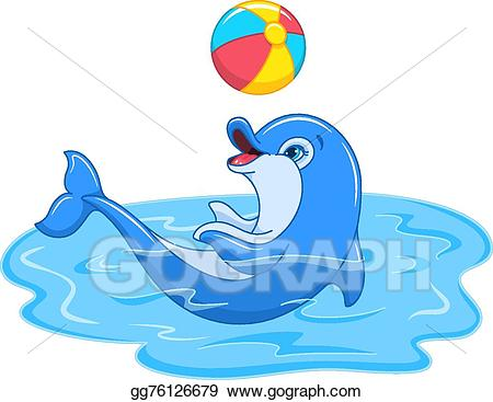 Dolphin clipart ball. Vector stock playful illustration