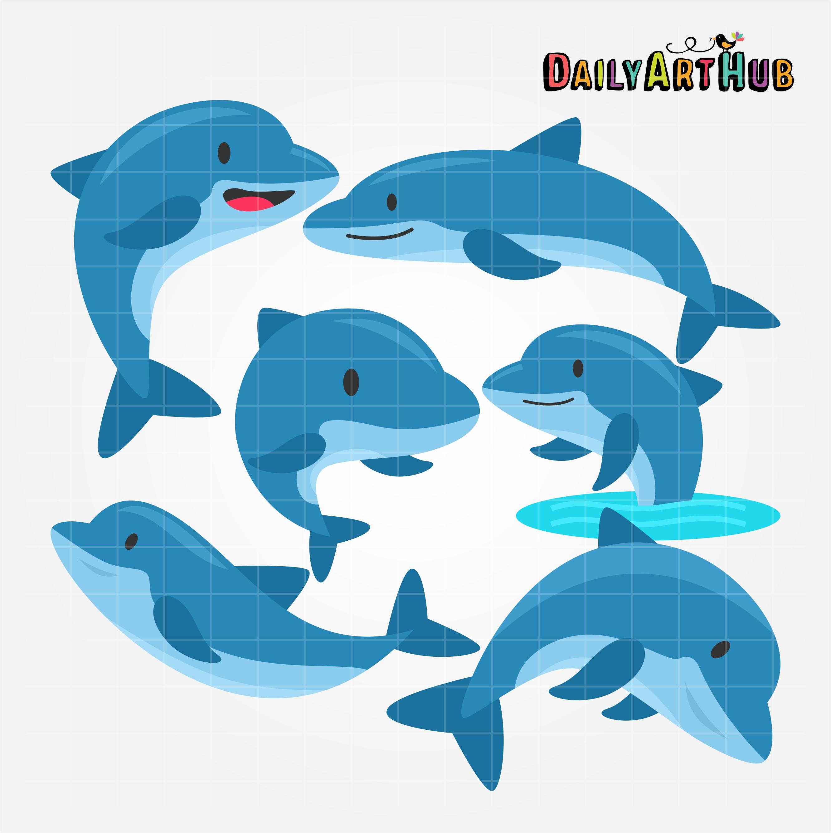 Dolphin clipart cute. Dolphins clip art set