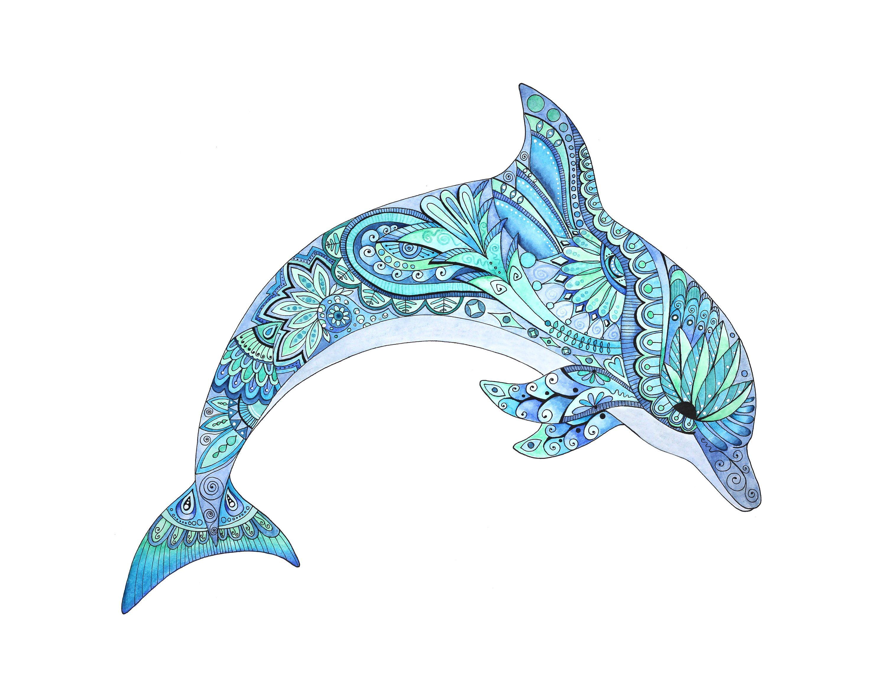 Watercolor and ink painting. Dolphin clipart dotted animal