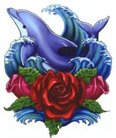 awesome tattoo designs. Dolphin clipart flower