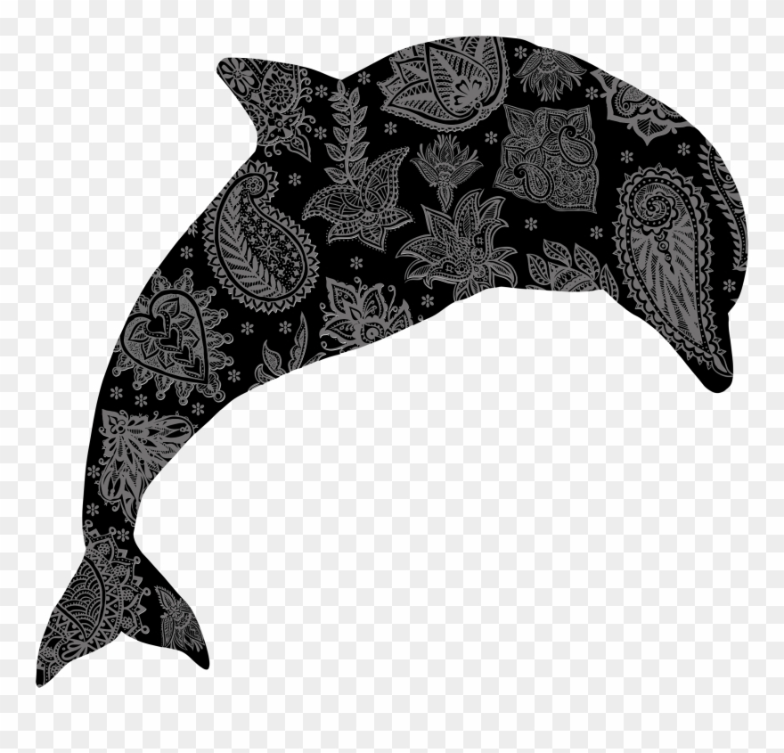 Dolphin clipart flower. Black and white images