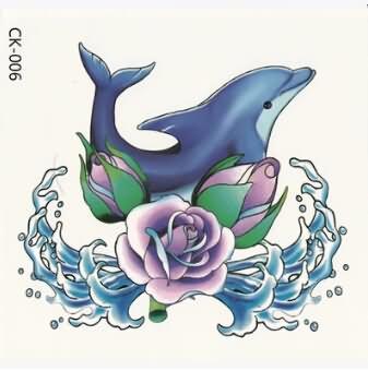latest tattoo designs. Dolphin clipart flower