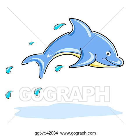 Dolphin clipart happy. Vector art drawing gg