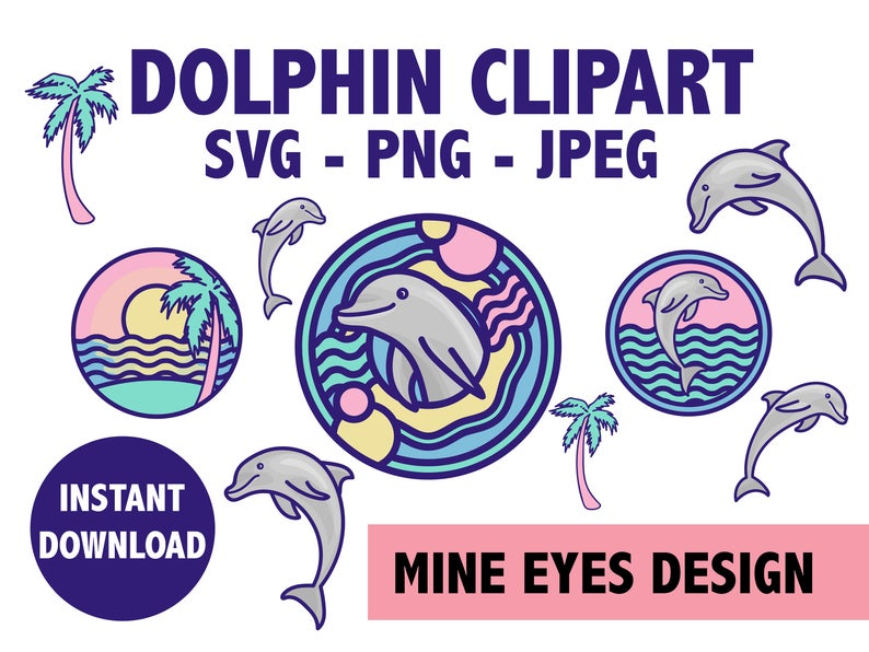 Tropical beach icons marine. Dolphin clipart ocean life