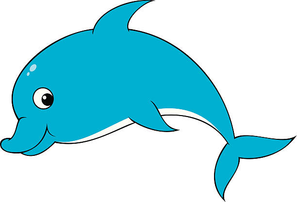 Funny and in color. Dolphin clipart pencil