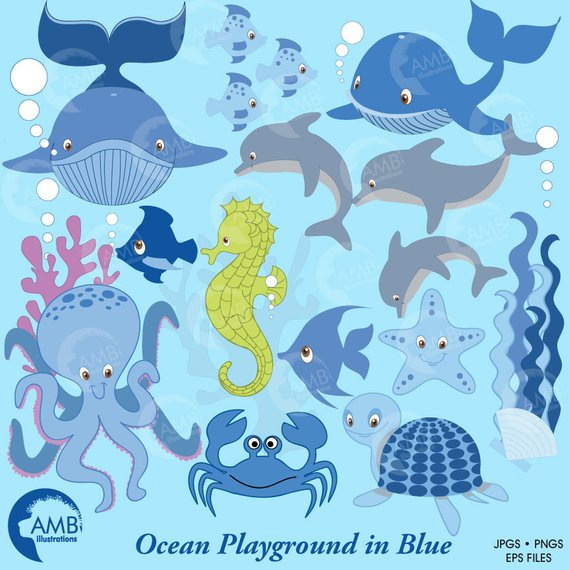 Sea creatures colorful whales. Dolphin clipart seahorse