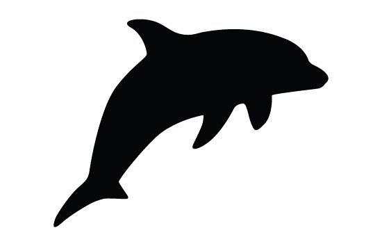 Dolphins silhouette vector fish. Dolphin clipart side view