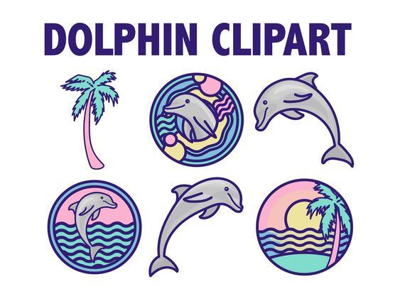 Tropical beach icons ocean. Dolphin clipart summer