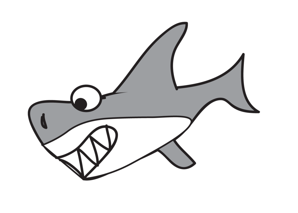 Great white shark free. Dolphin clipart traceable