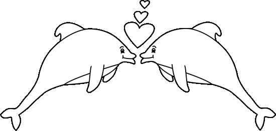 Black and white valentine. Dolphin clipart valentines