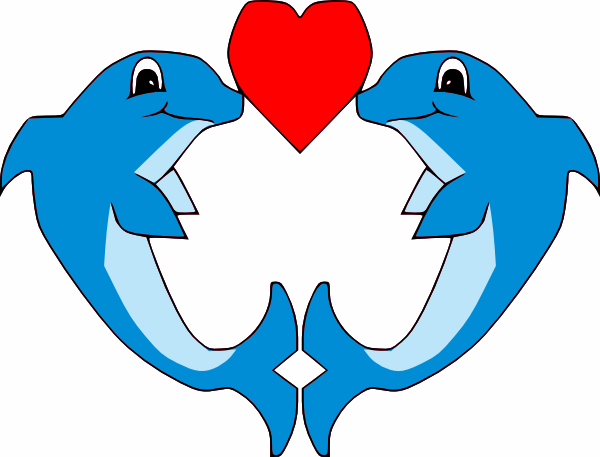 Dolphin clipart valentines. Kissing dolphins clip art