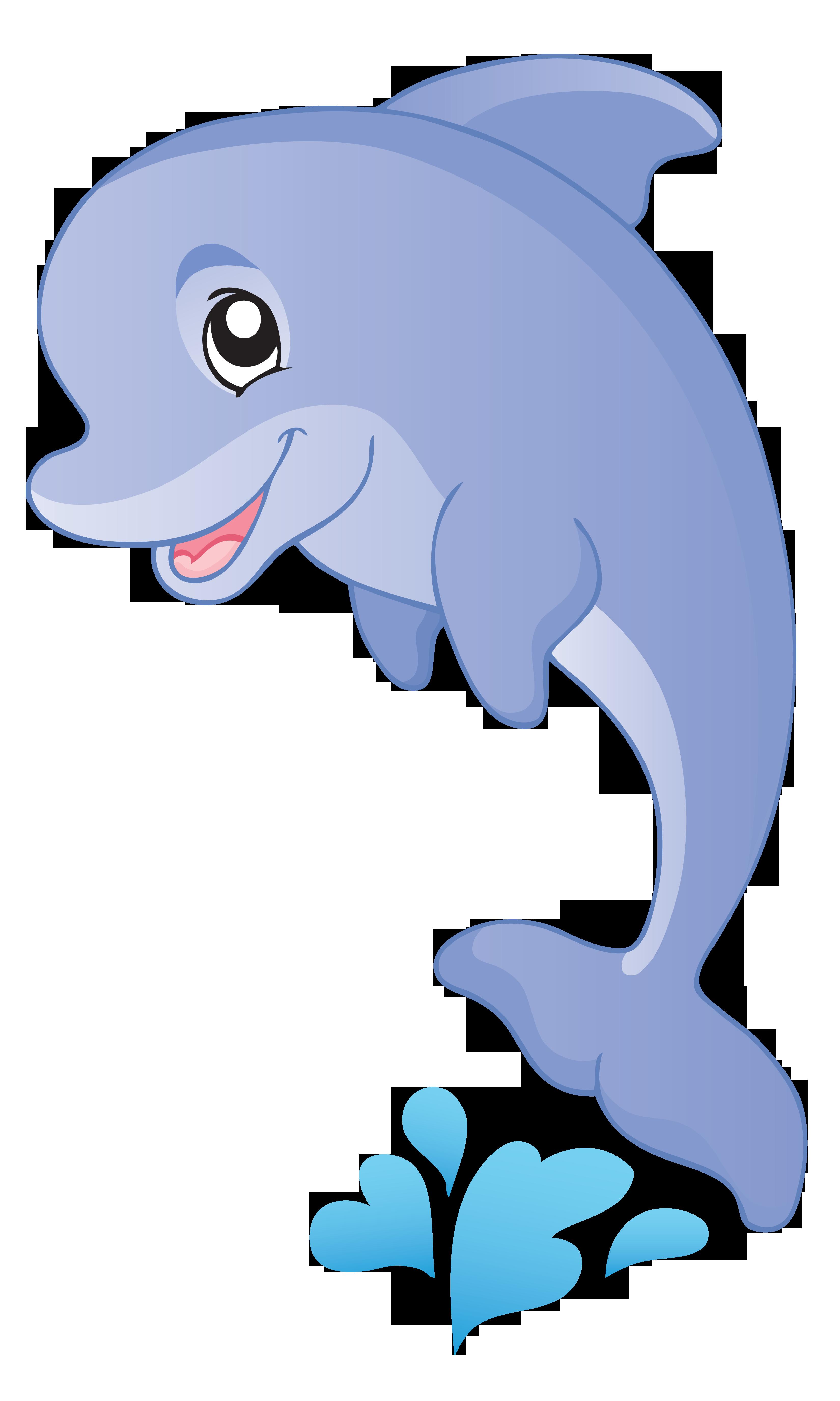 Fish cartoon clip art. Dolphins clipart aquatic animal