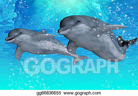 Stock illustration bottlenose swimming. Dolphins clipart group dolphin