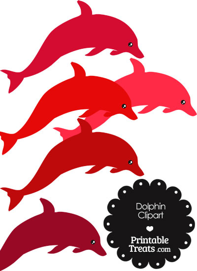 Dolphin in shades of. Dolphins clipart red