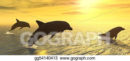 Drawing at gg . Dolphins clipart sunset