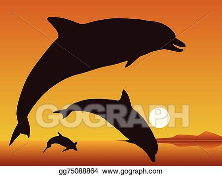 Vector art drawing gg. Dolphins clipart sunset