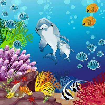 Dolphins clipart under sea. Psd underwater world of